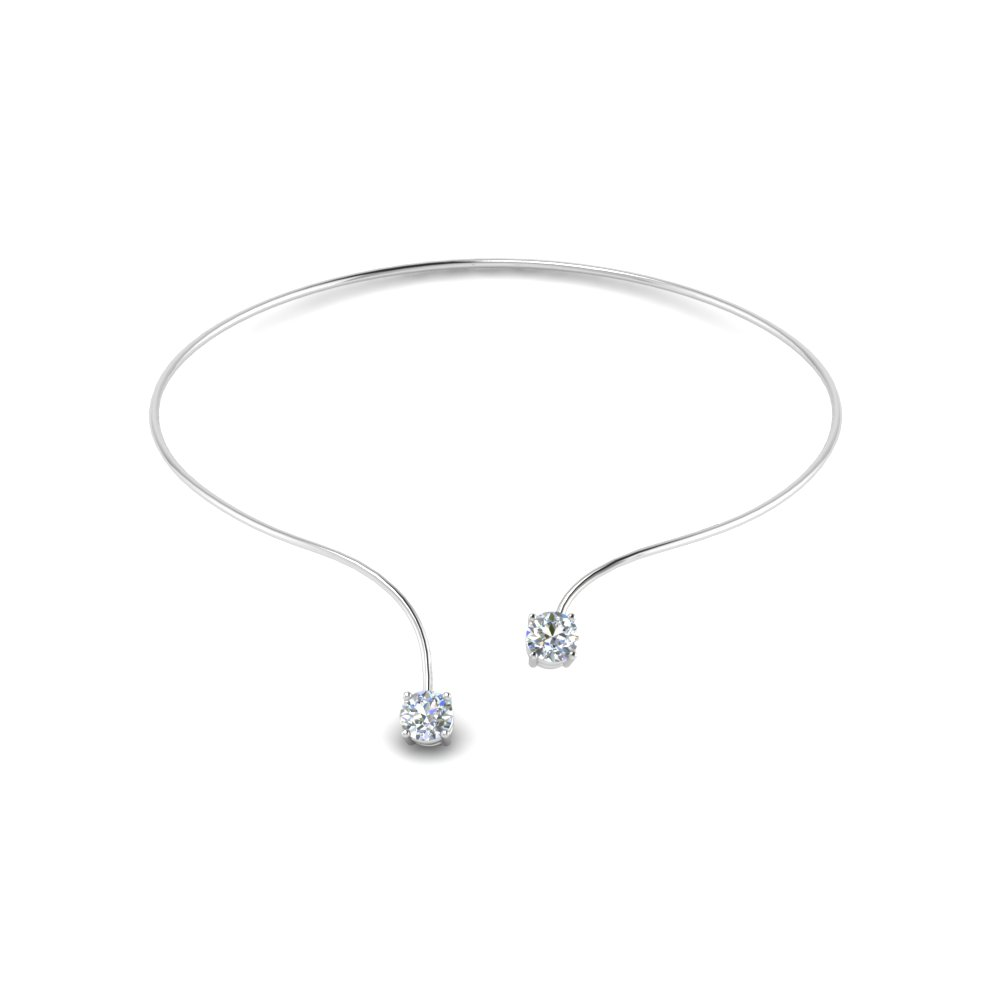 2 Stone Open Bangle Necklace