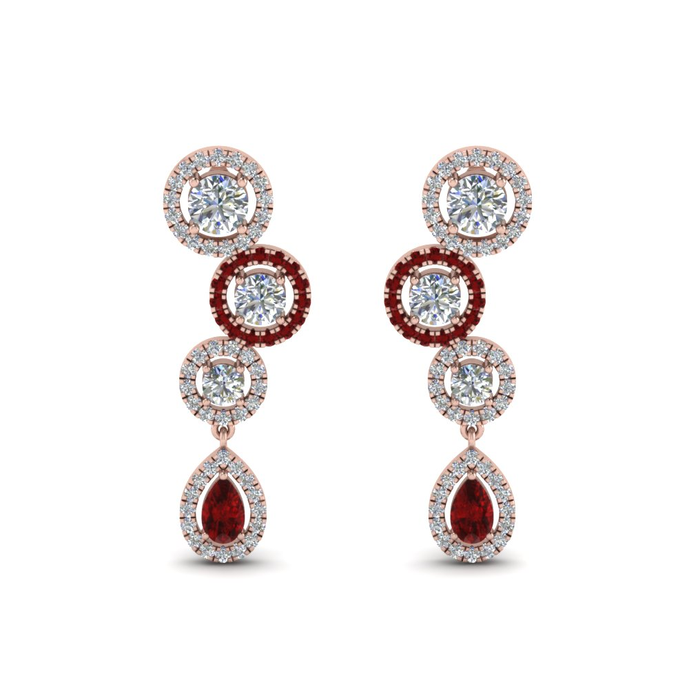 Triple Circle Ruby Drop Earring