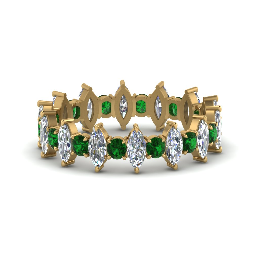 1.70 Carat  Marquise & Round Emerald Band