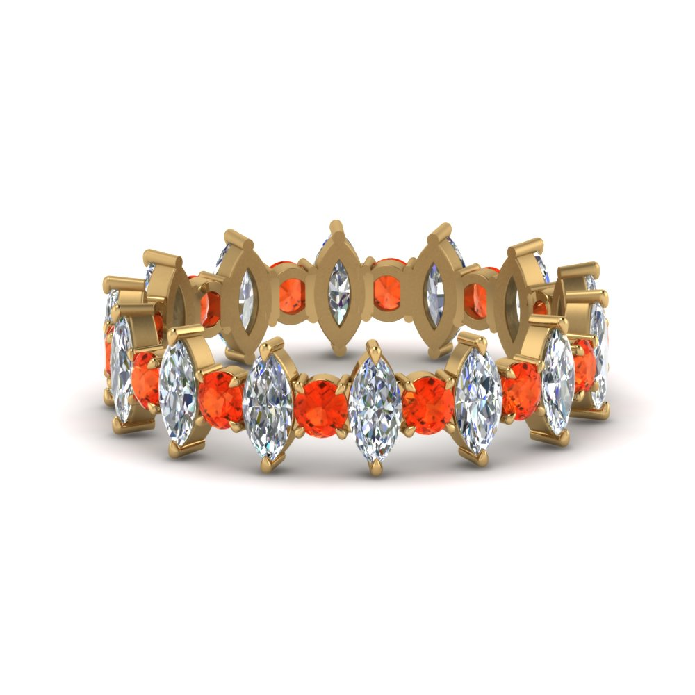 Orange Topaz Eternity Wedding Band