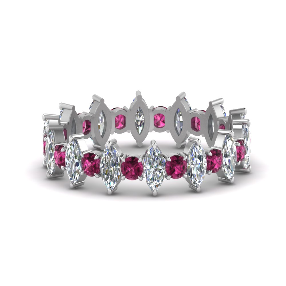 Marquise And Round Pink Sapphire Band