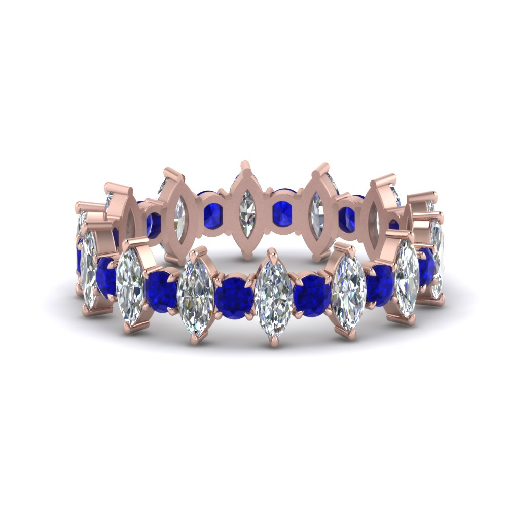 1.70 Carat Marquise & Round Sapphire Band