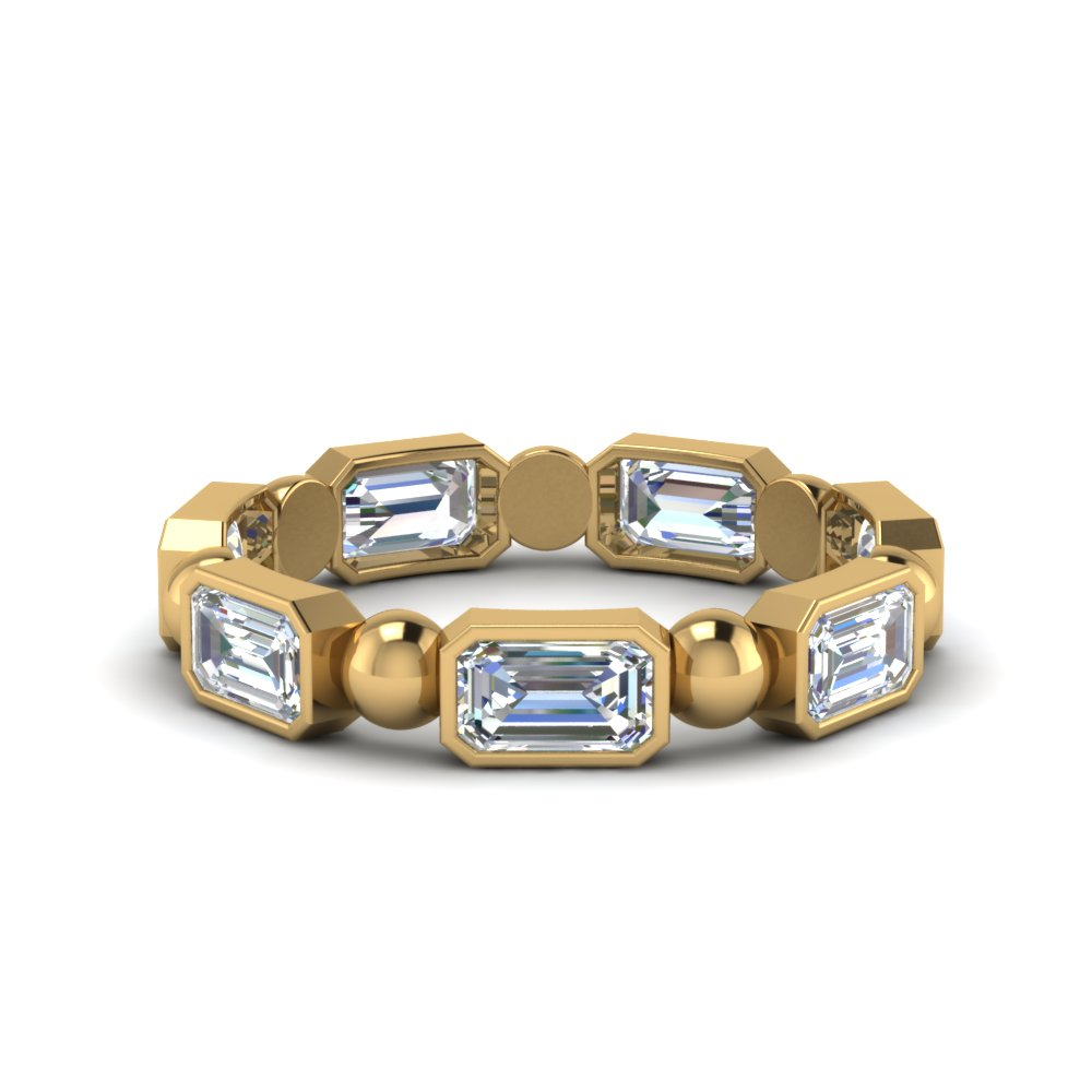 18K Yellow Gold Emerald Cut Eternity Band With Bead