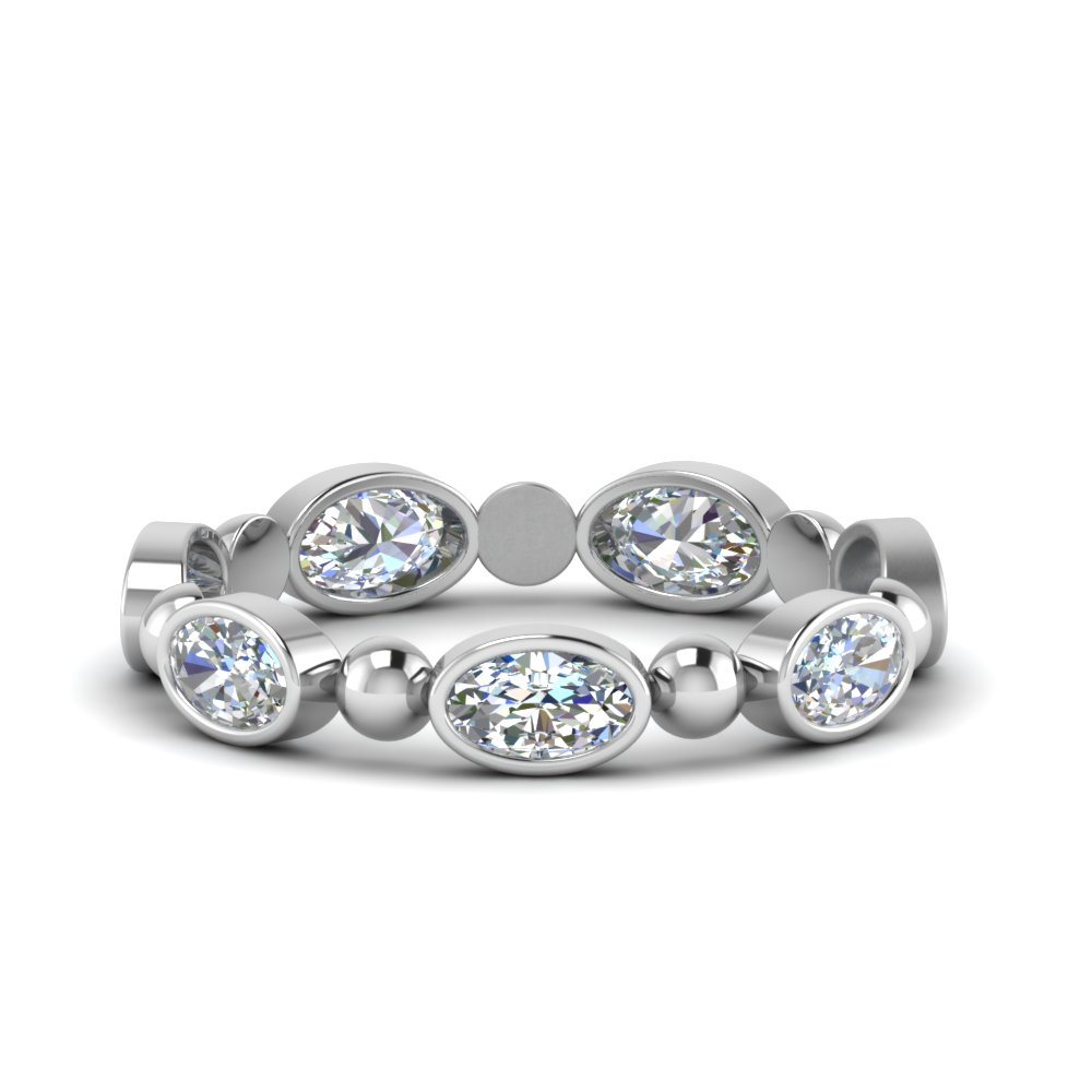 Oval Shaped Bead Wedding Band