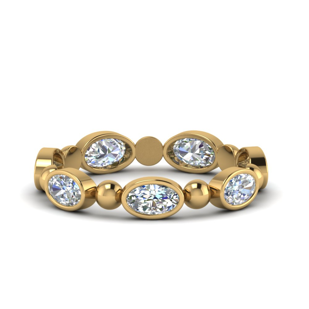 1.75 Carat Oval Shaped Bead Band