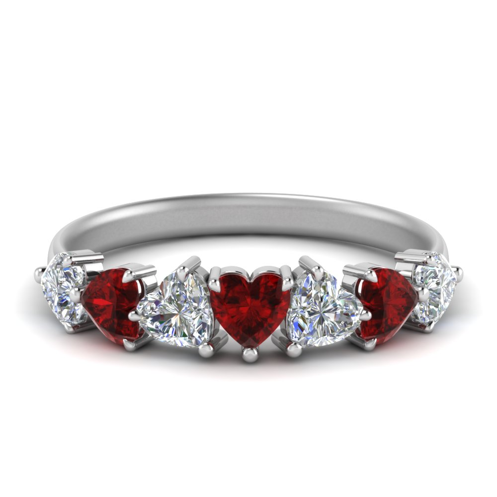 Seven Stone Heart Cut Ruby Ring