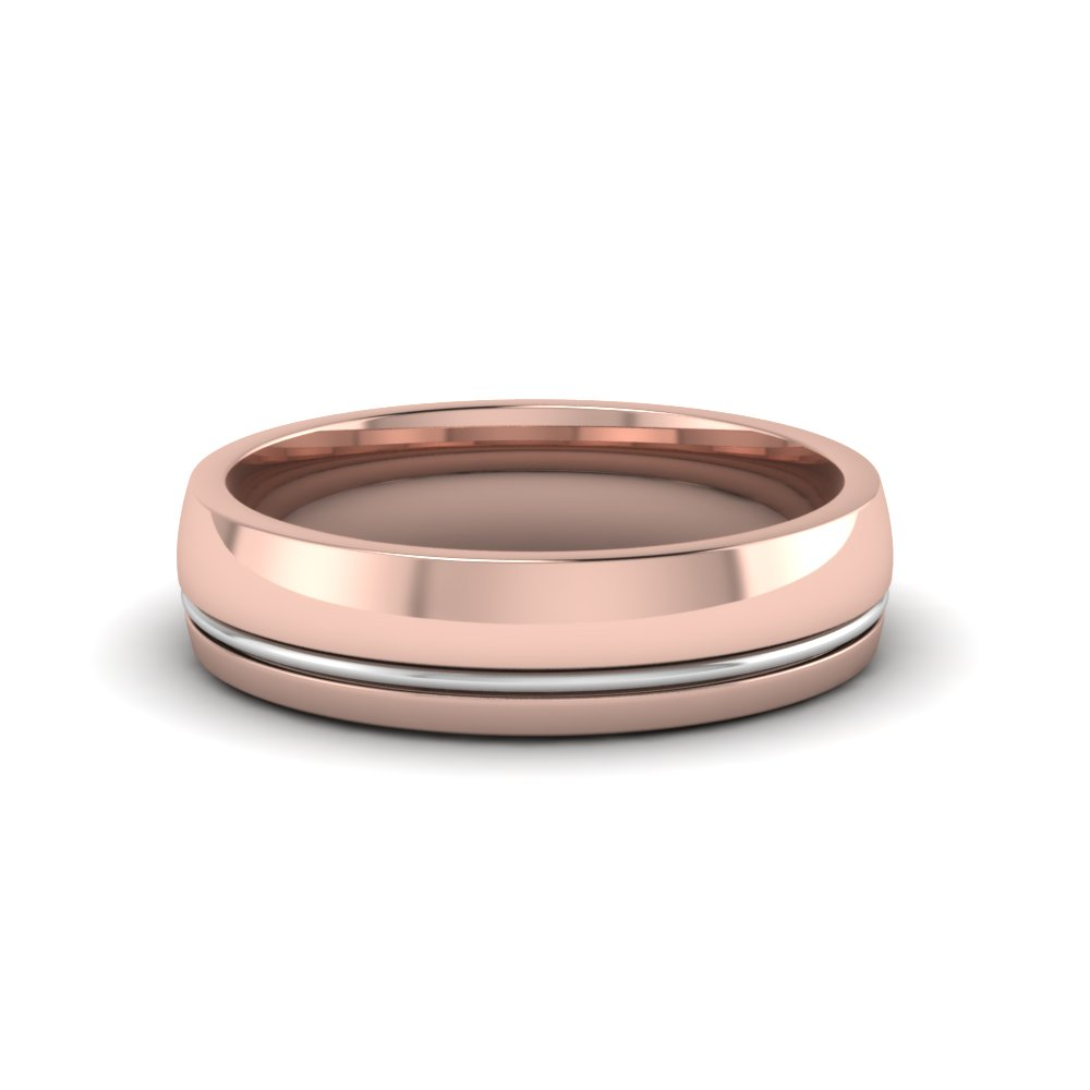 14K rose gold single rail comfort fit wedding ring FDM51342B NL RG