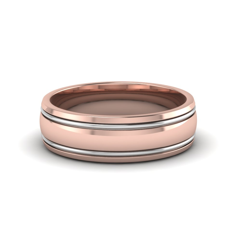 two tone mens wedding ring in FDM50240B NL RG