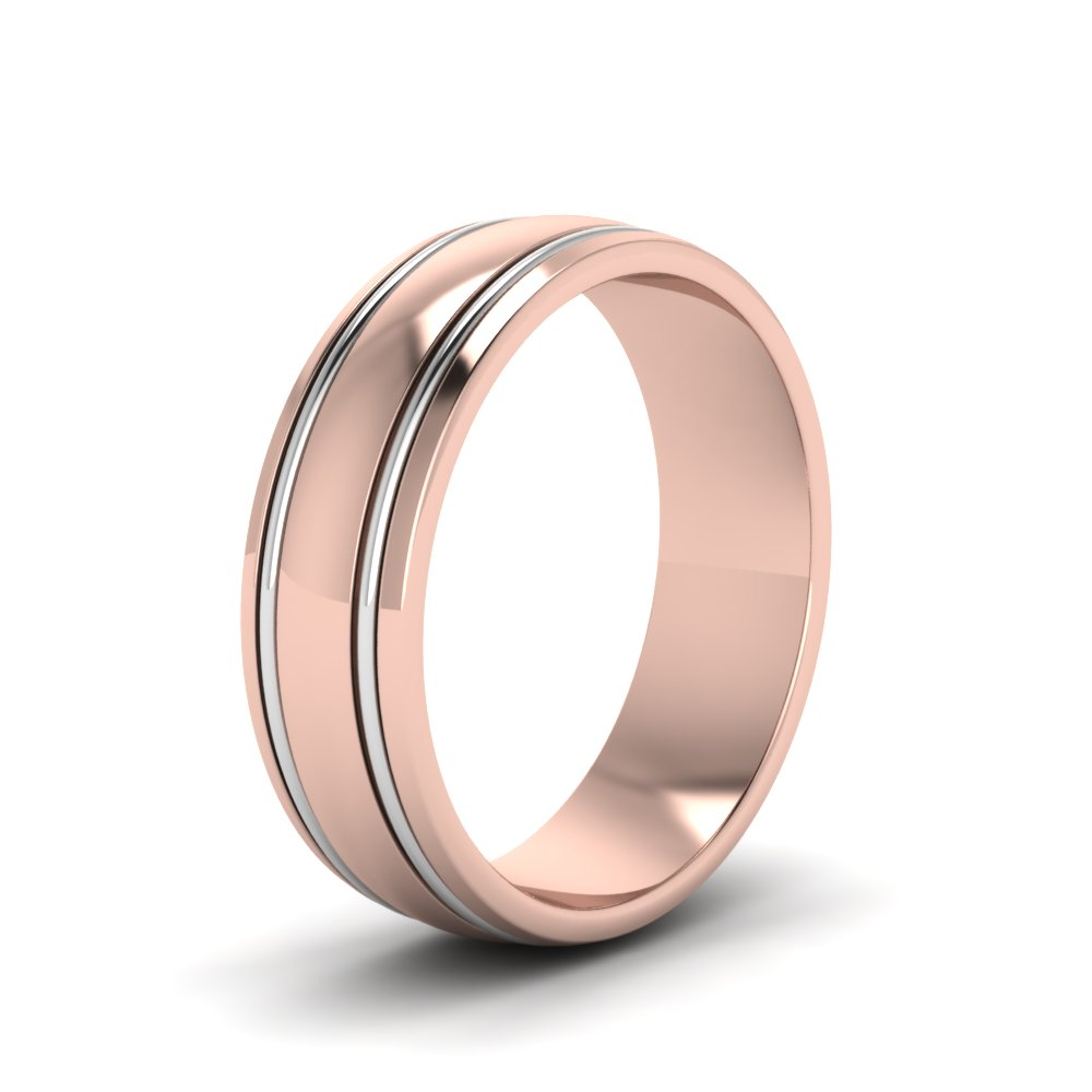 Two Tone Mens Wedding Ring In 14K Rose Gold Fascinating Diamonds