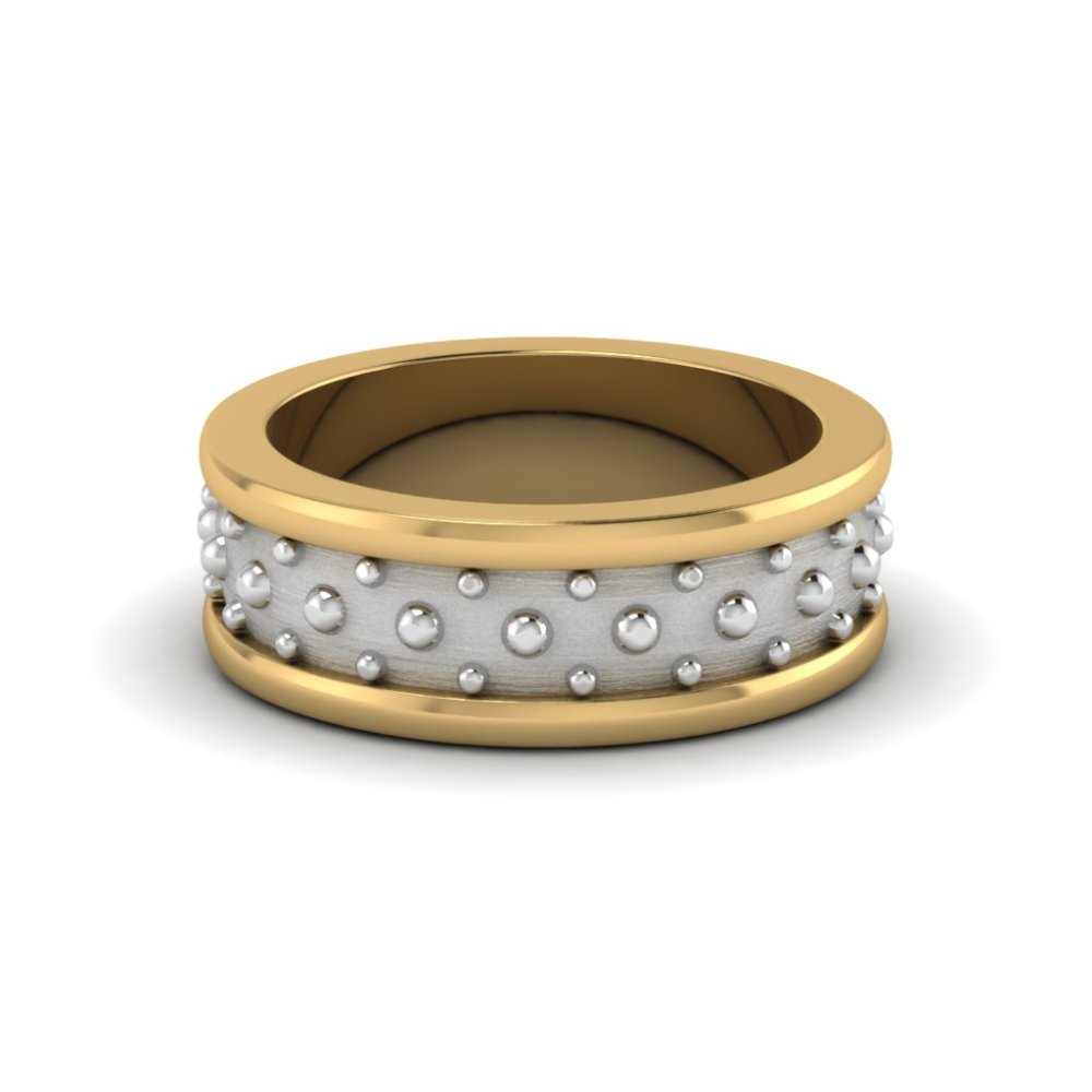 Two Tone Mens Gold Ring