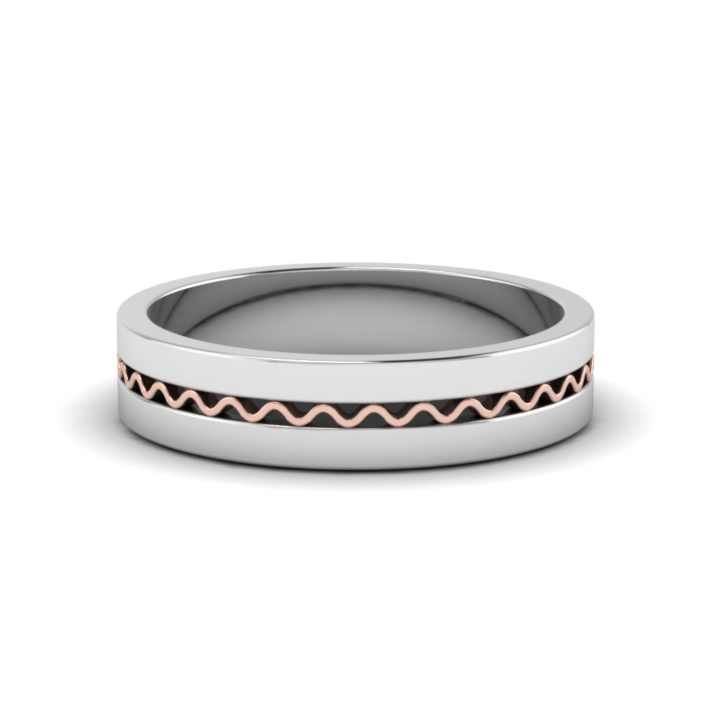 Two Tone Comfort Fit Men'S Wedding Band