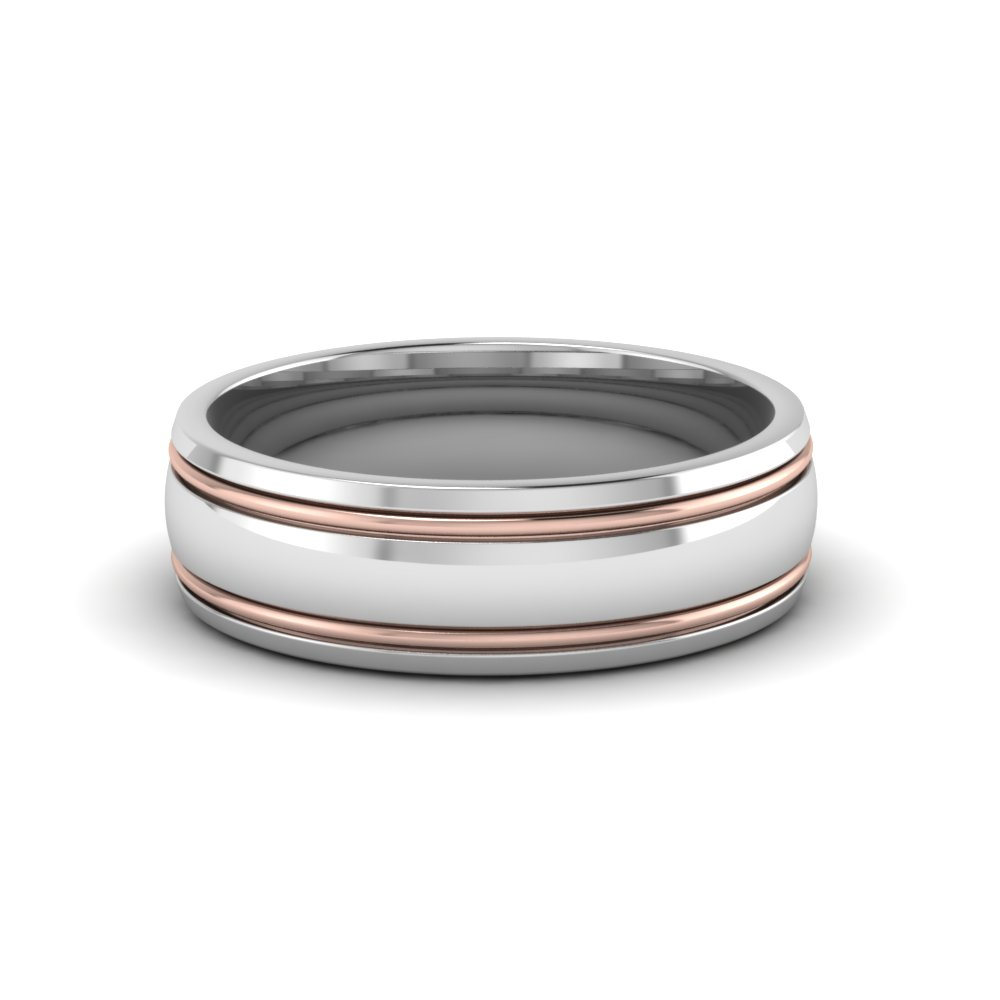 two tone mens wedding ring in FDM50240B NL WG