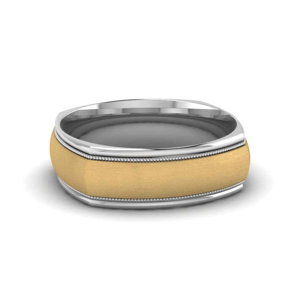 Milgrain Square Men Wedding Band