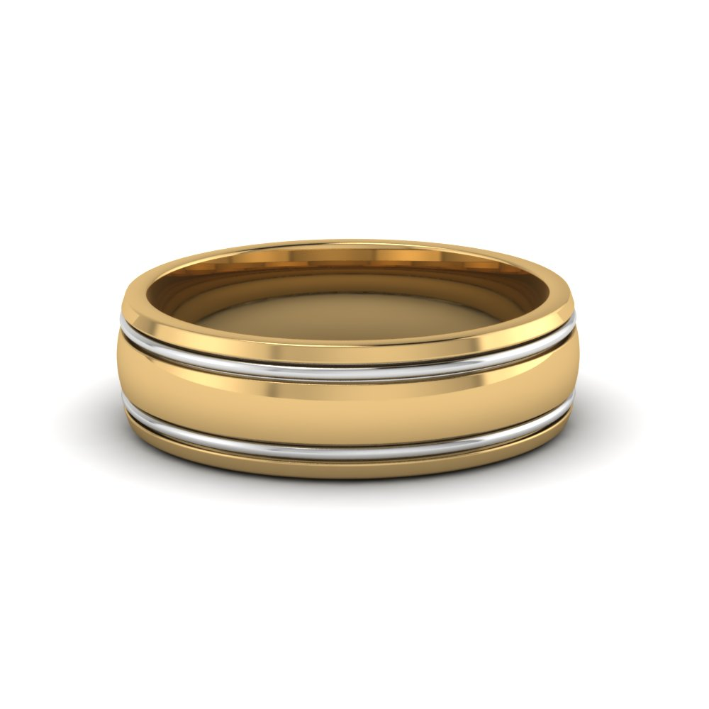 Two Tone Mens Wedding Ring In Fdm50240b Nl Yg