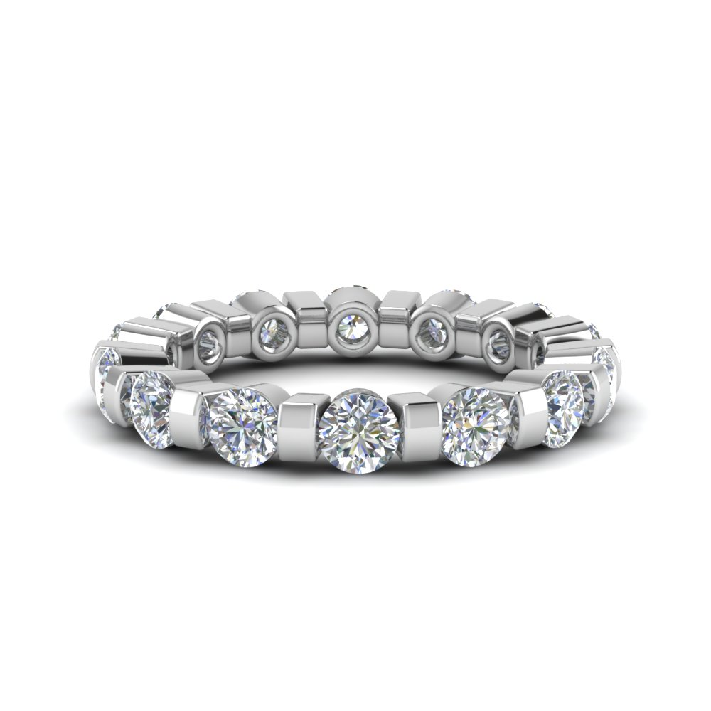 2 Ct. Diamond Bar Set Eternity Band In 18K White Gold