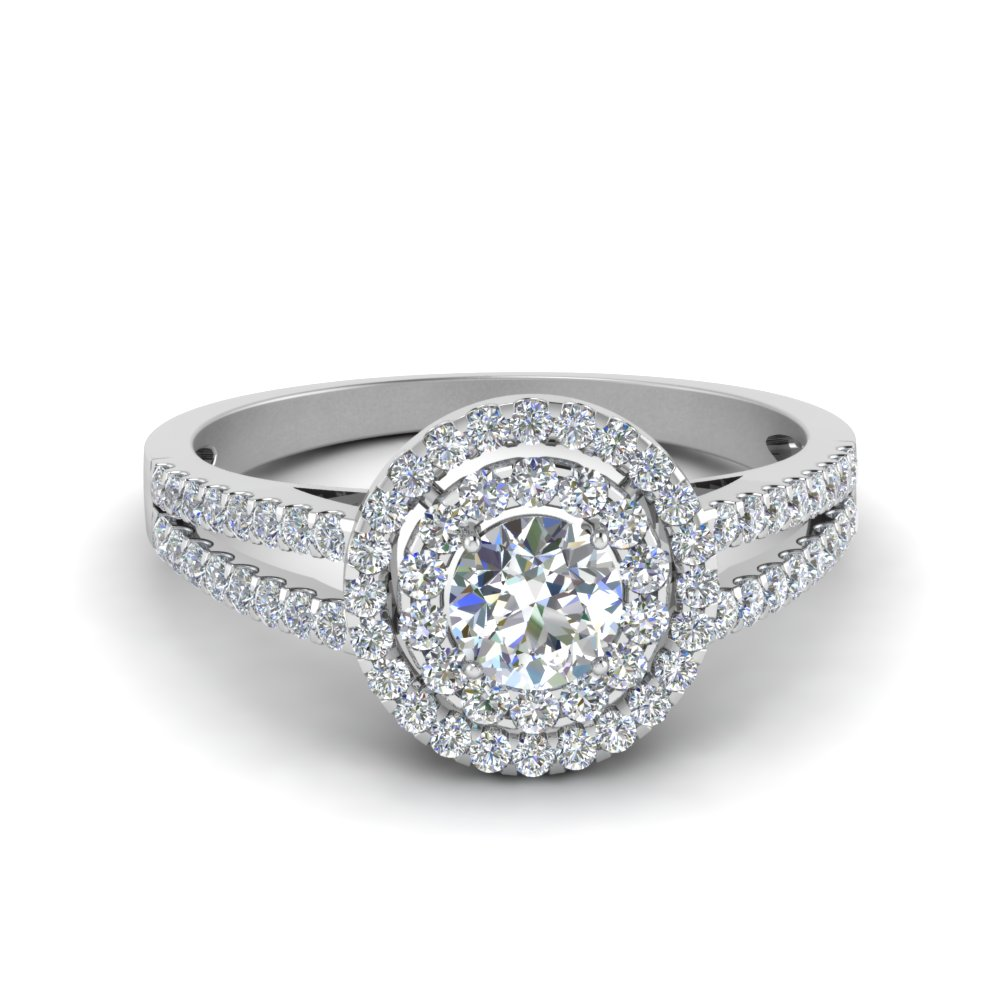 2 Ct. Diamond Halo Split Shank Ring