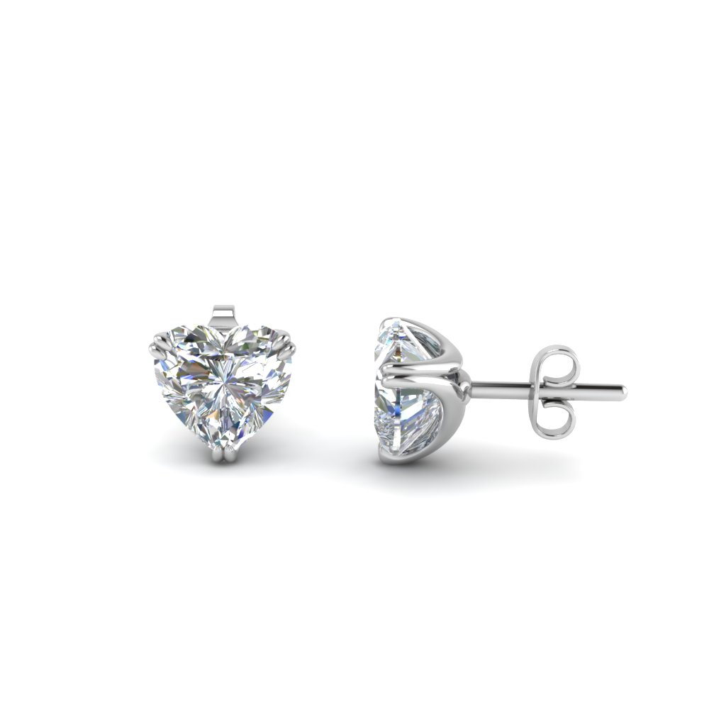 2 Carat Diamond Heart Mom Earring In 14K White Gold