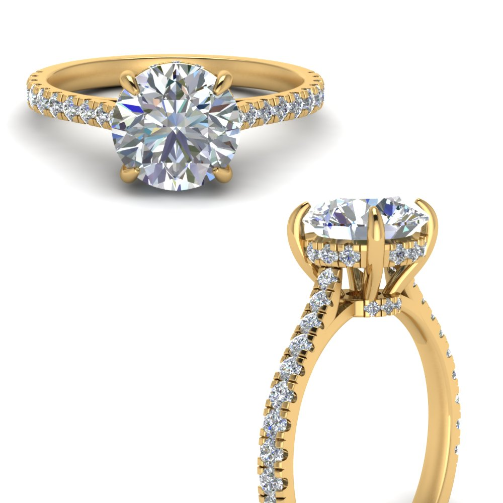 2 carat diamond hidden halo engagement ring in FD9128RORANGLE3 NL YG.jpg