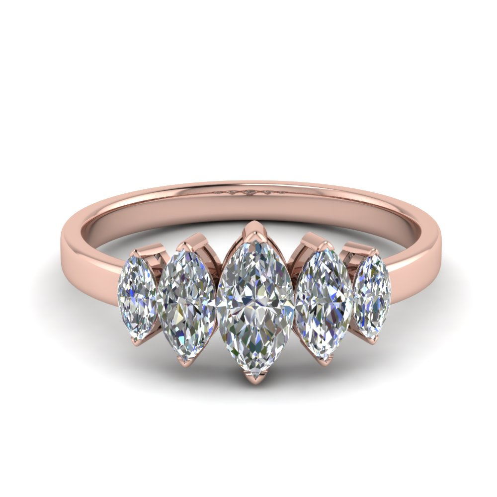 2 Carat Diamond  5 Stone Marquise Ring