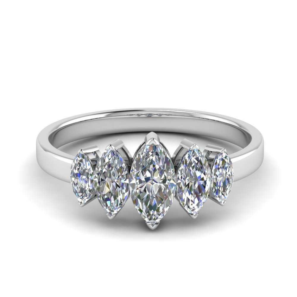 2 Carat Diamond Marquise Ring 5 Stone