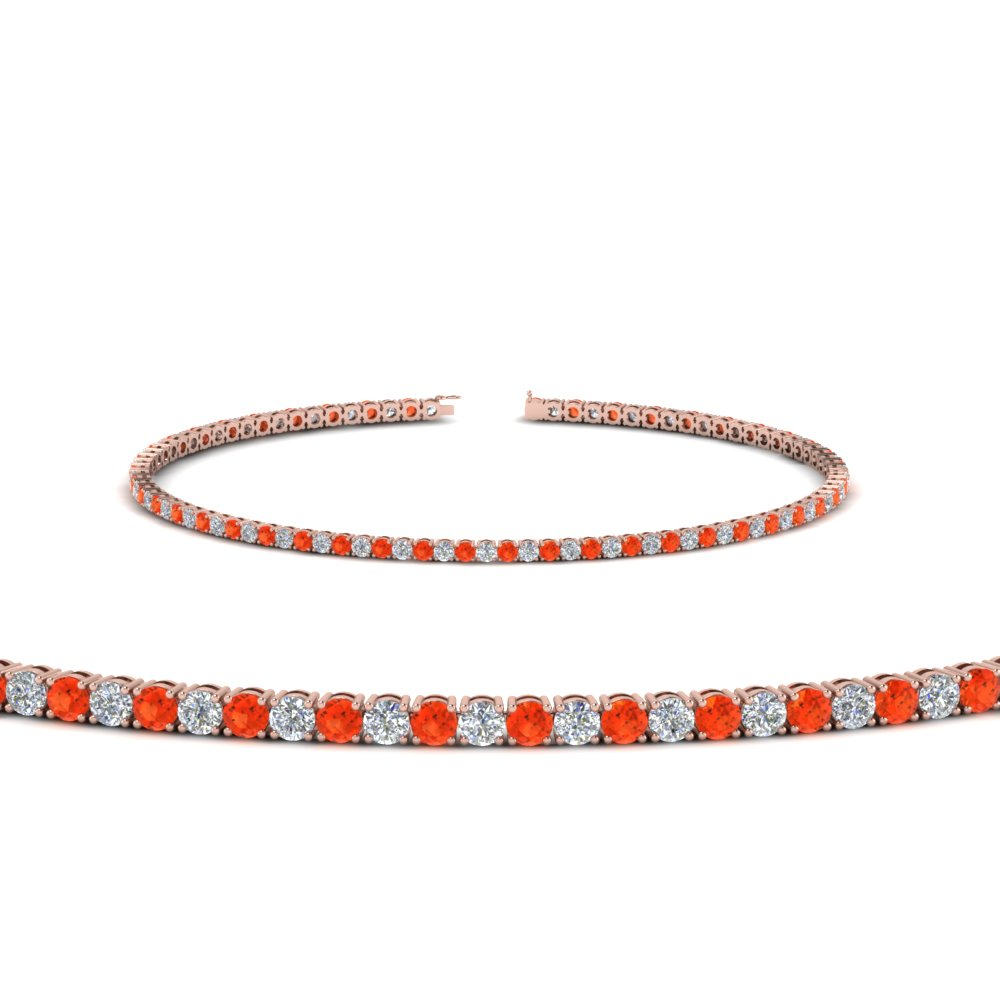 2 carat diamond tennis bracelet with orange topaz in FDBRC8635 2CTGPOTO NL RG
