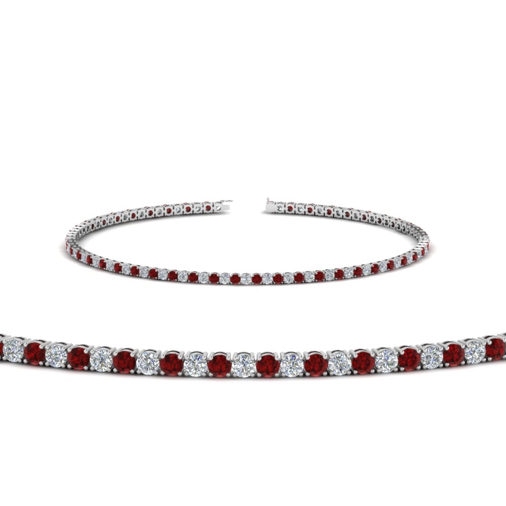 2 Carat Diamond Tennis Bracelet With Ruby In Fdbrc8635 2ctgrudr Nl Wg