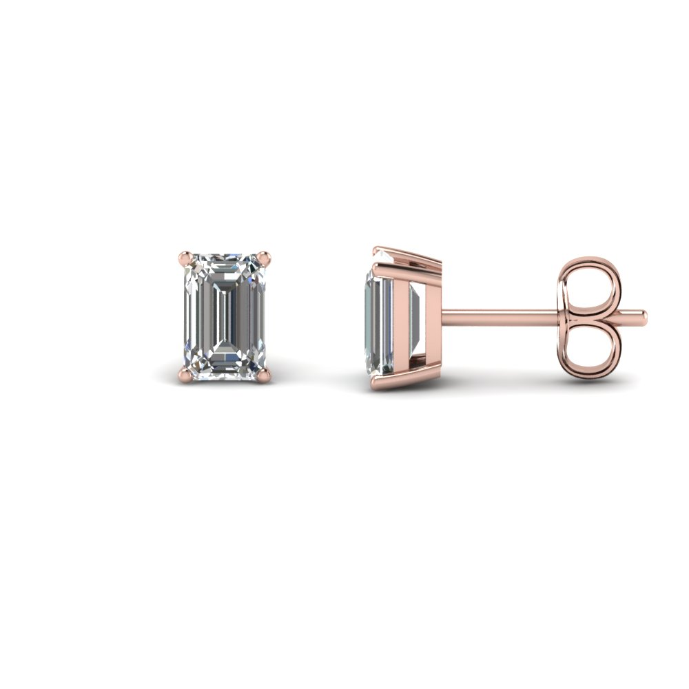 2 carat emerald cut diamond stud earring in 14K rose gold FDEAR4EM1CT NL RG