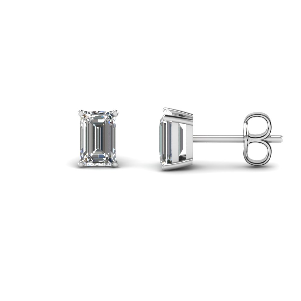 18k White Gold Stud Earring 2 Ctw