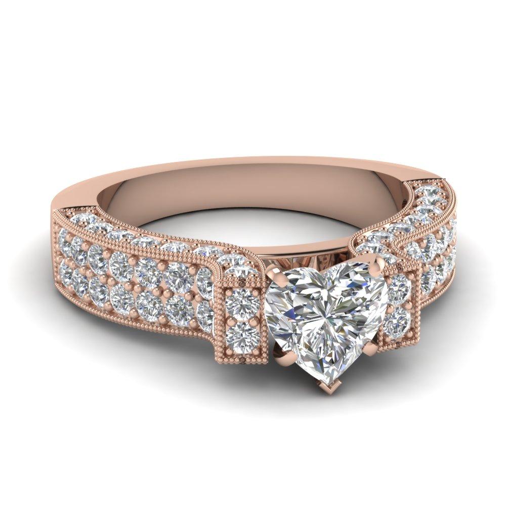 2 Carat Heart Diamond Pave Vintage Engagement Ring In 14K Rose Gold ...