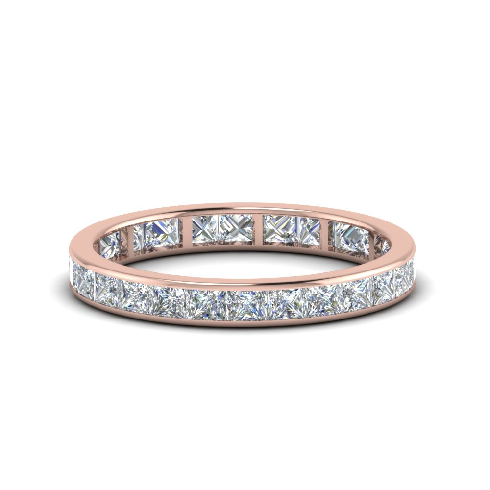 2 carat princess cut diamond eternity band in 14K rose gold FDEWB8384 2.0CTB NL RG