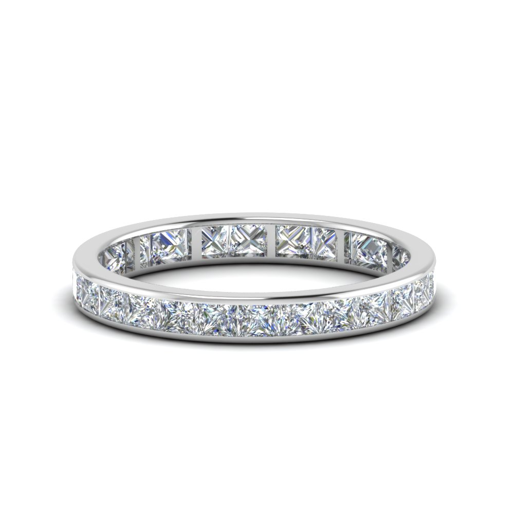 rings eternity bands princess cut diamond wedding round of with pave full size band engagement ring split