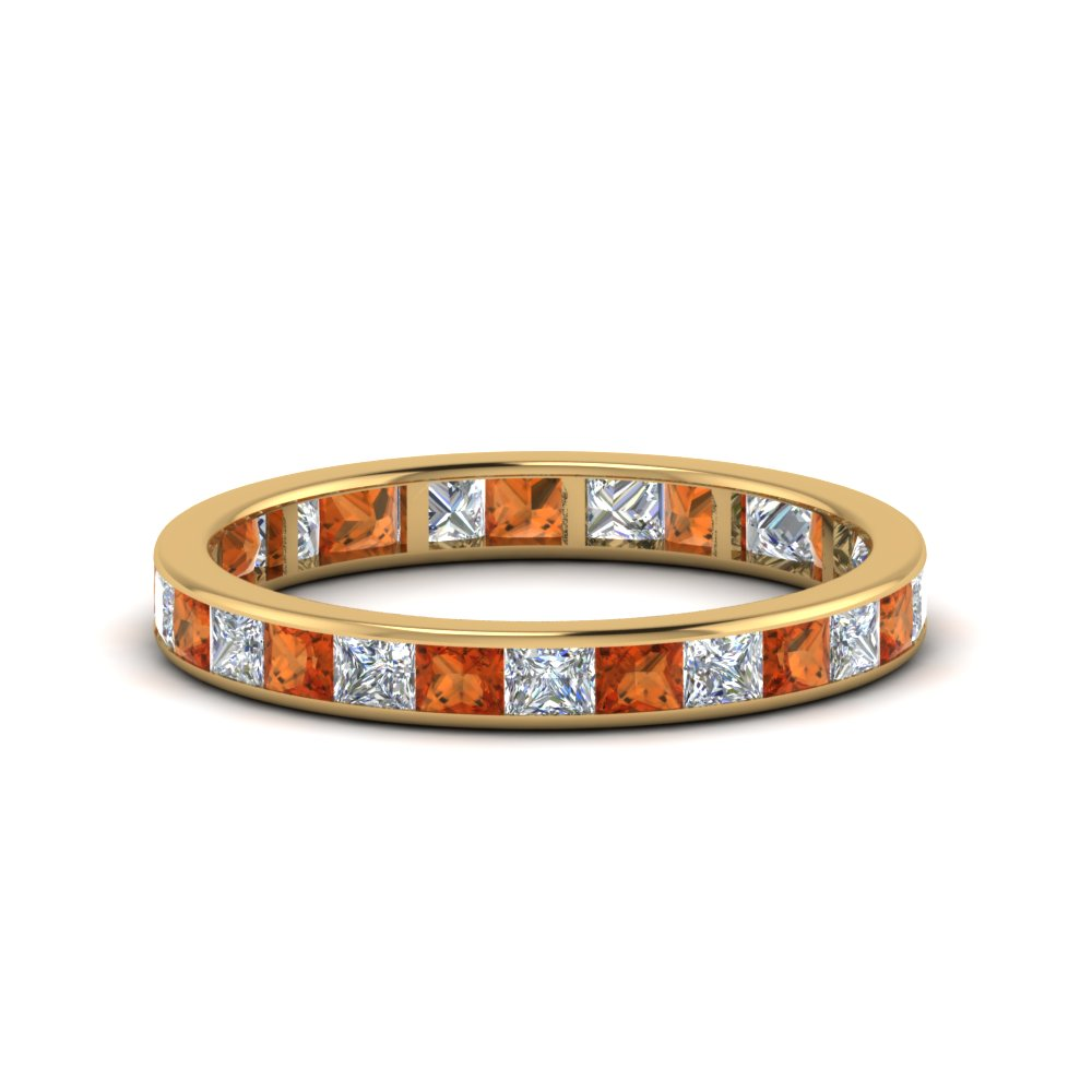 2 carat princess cut diamond eternity band with orange sapphire in 14K yellow gold FDEWB8384 2.0CTBGSAOR NL YG