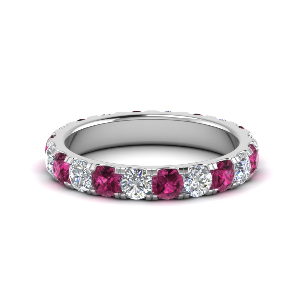 e0c003495 2 carat round diamond eternity women band with pink sapphire in FDEWB8371  2.0CTBGSADRPI NL WG
