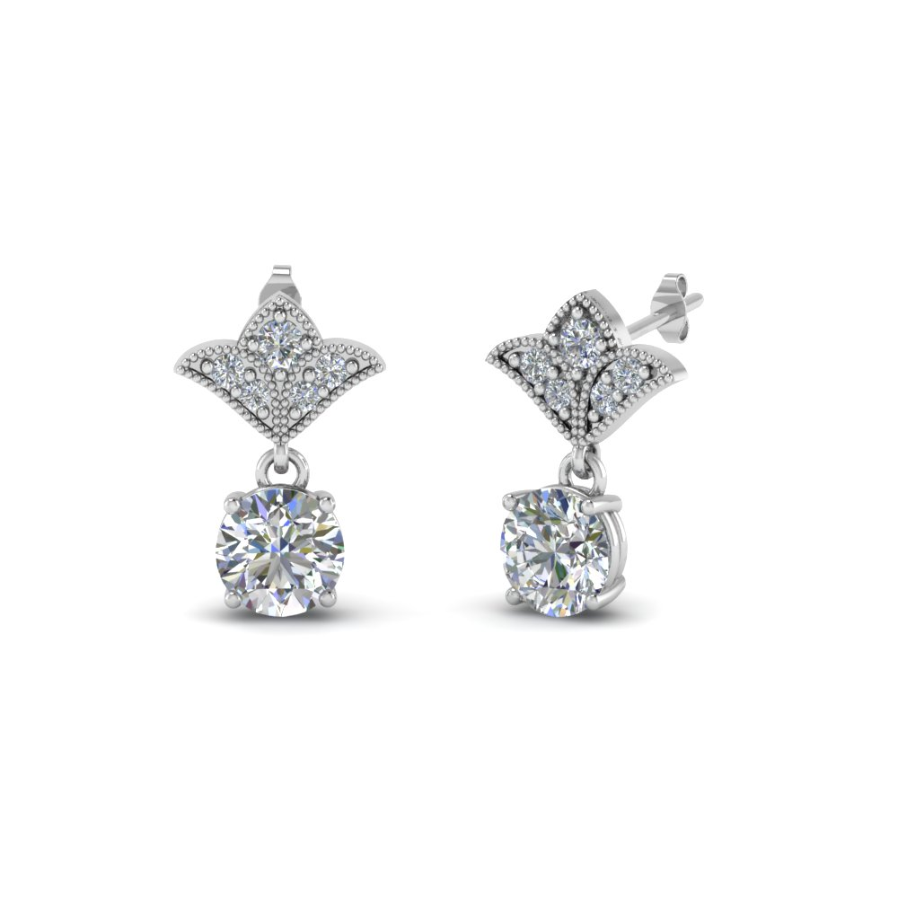2 Carat Diamond Antique Design Earring