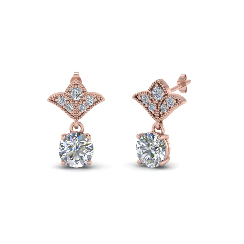 2 carat round drop antique design diamond earring in 18K rose gold FDEAR8425 1.0CT NL RG