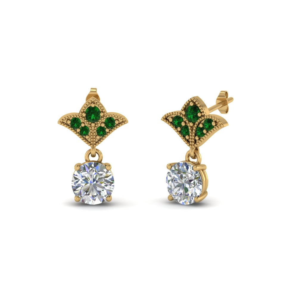 2 carat round drop antique design diamond earring with emerald in 18K yellow gold FDEAR8425 1.0CTGEMGR NL YG