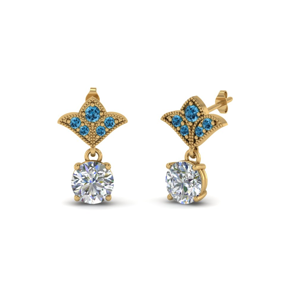 2 carat round drop antique design diamond earring with blue topaz in 18K yellow gold FDEAR8425 1.0CTGICBLTO NL YG