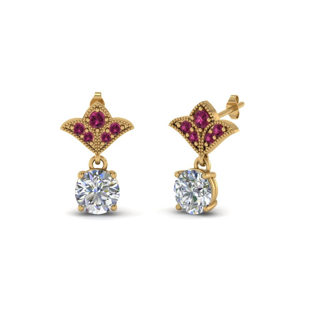 2 carat round drop antique design diamond earring with pink sapphire in 14K yellow gold FDEAR8425 1.0CTGSADRPI NL YG