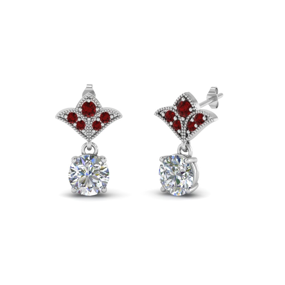 2 carat round drop antique design diamond earring with ruby in 18K white gold FDEAR8425 1.0CTGRUDR NL WG