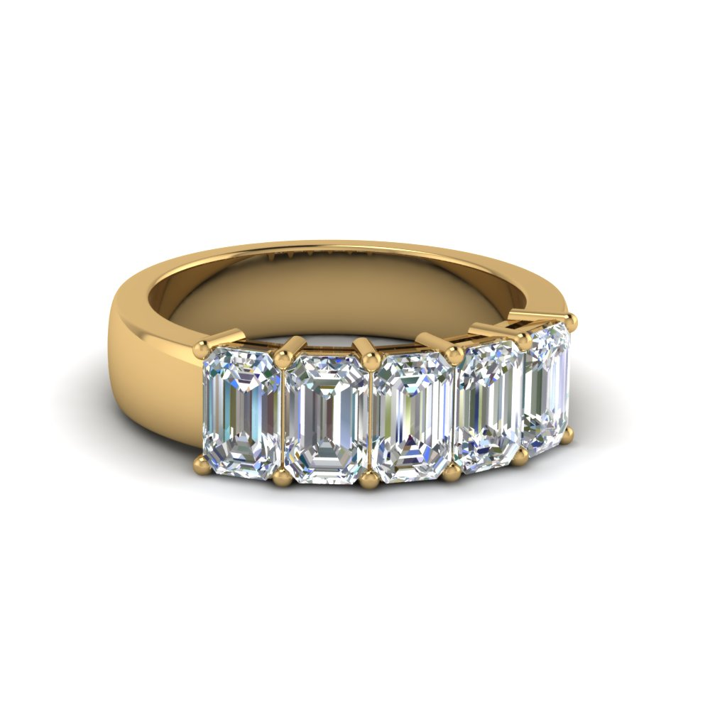 14K Yellow Gold 5 Stone Wedding Band