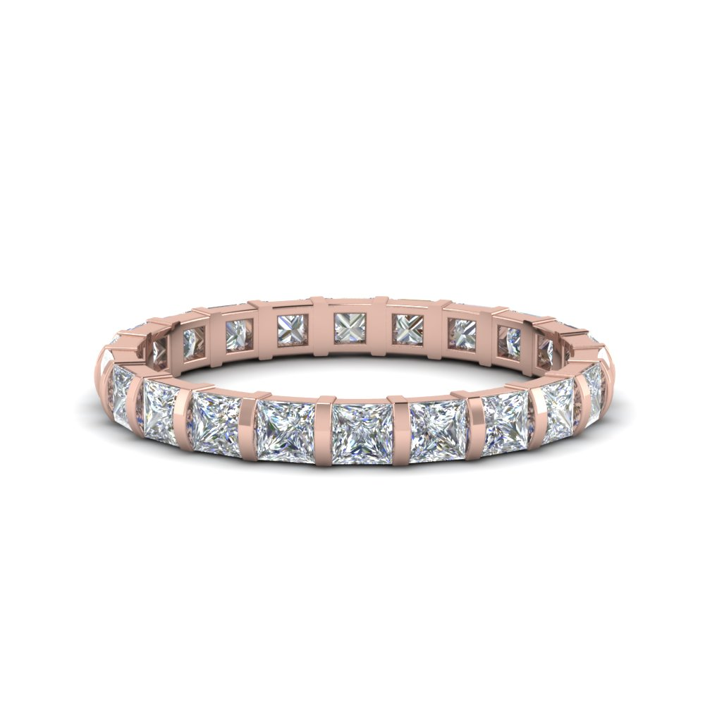 14K Rose Gold Bar Set Eternity Band