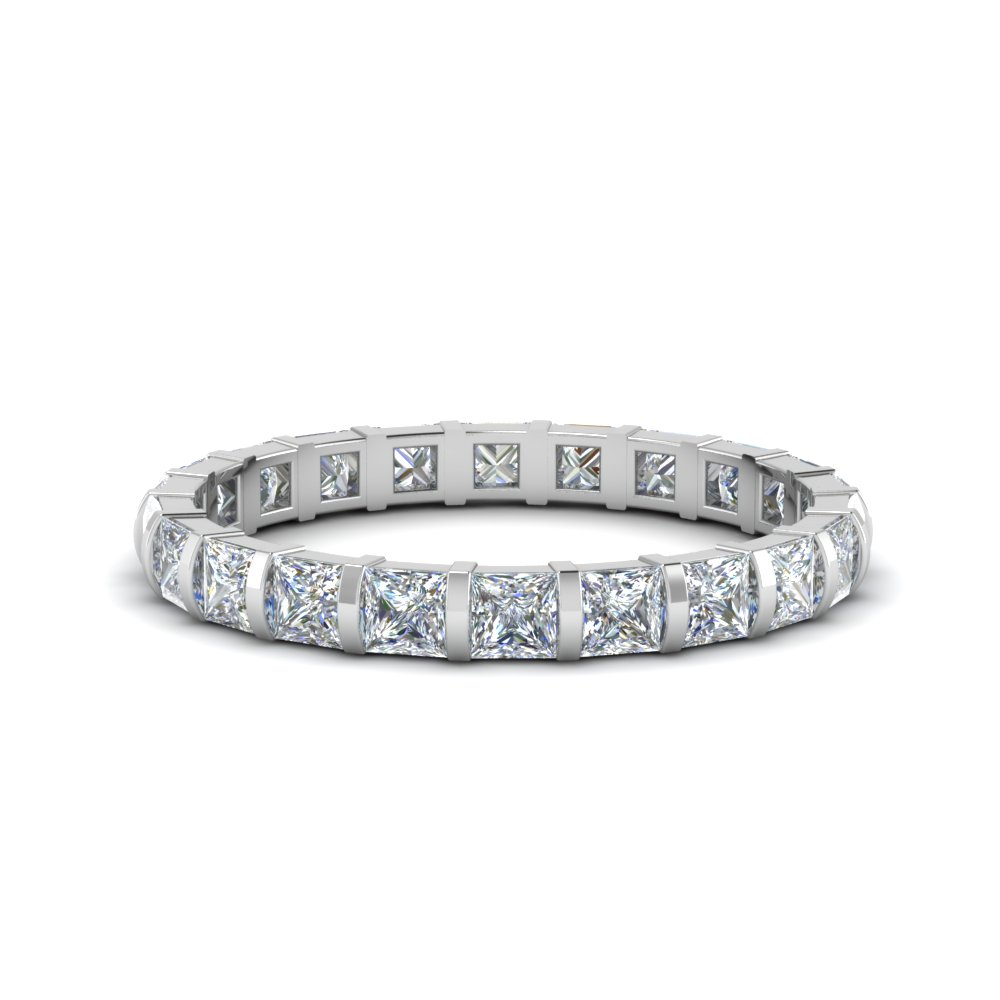 Platinum Bar Set Diamond Eternity Band