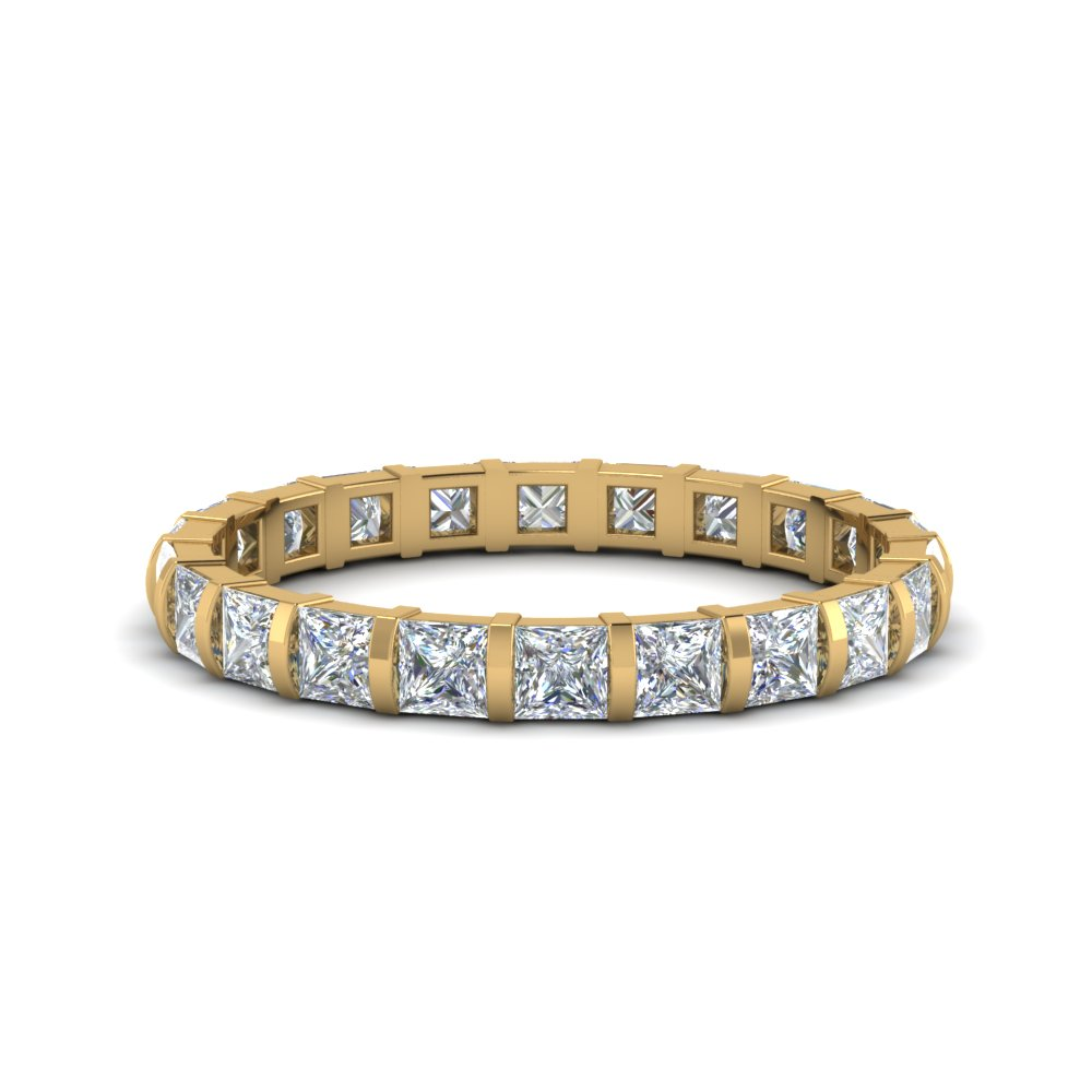2 ct. princess diamond bar set eternity ring in FD123625PREWB(2CT) NL YG