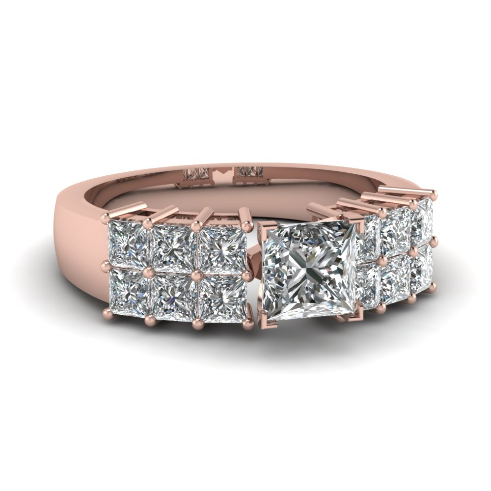 Rose Gold Wide 2 Row Diamond Ring