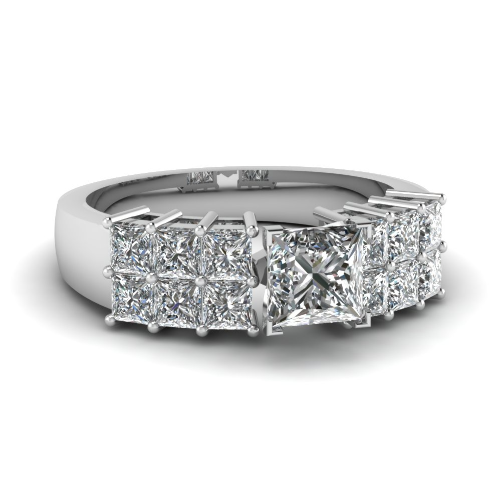 2 Ct. Princess Cut Wide 2 Row Diamond