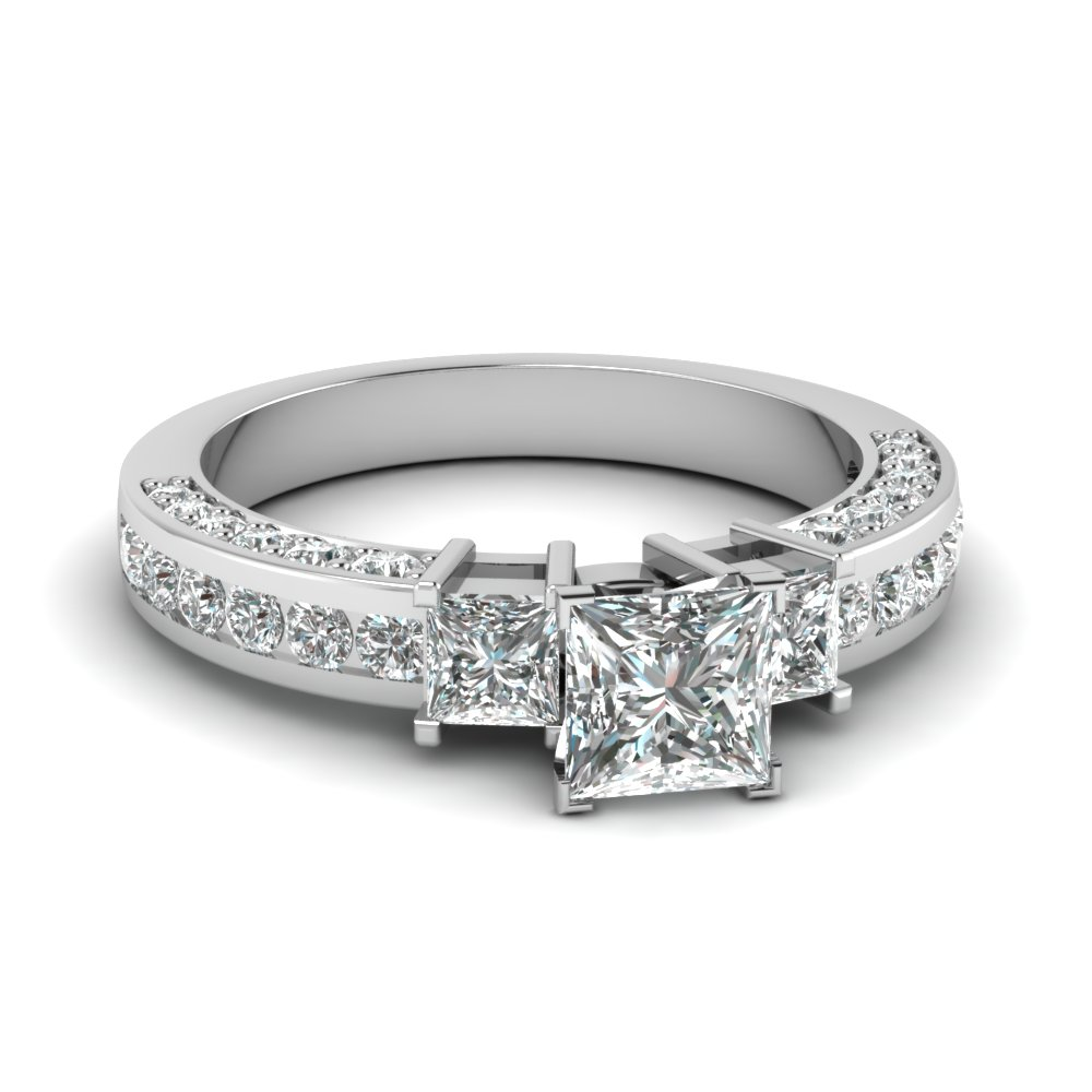 Three Stone Accent Diamond Ring
