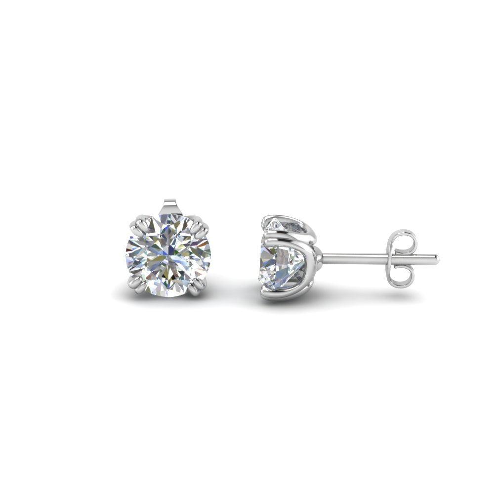 18K White Gold Stud Earring