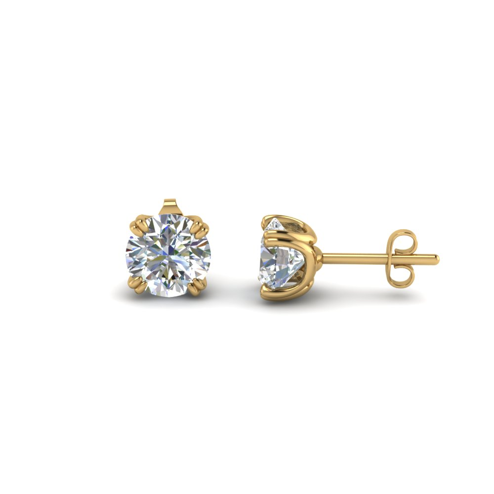 18K Gold Round Diamond Stud Earring