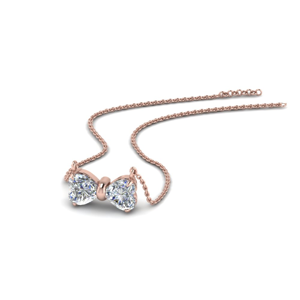 2 Heart Bow Diamond Necklace In 14K Rose Gold