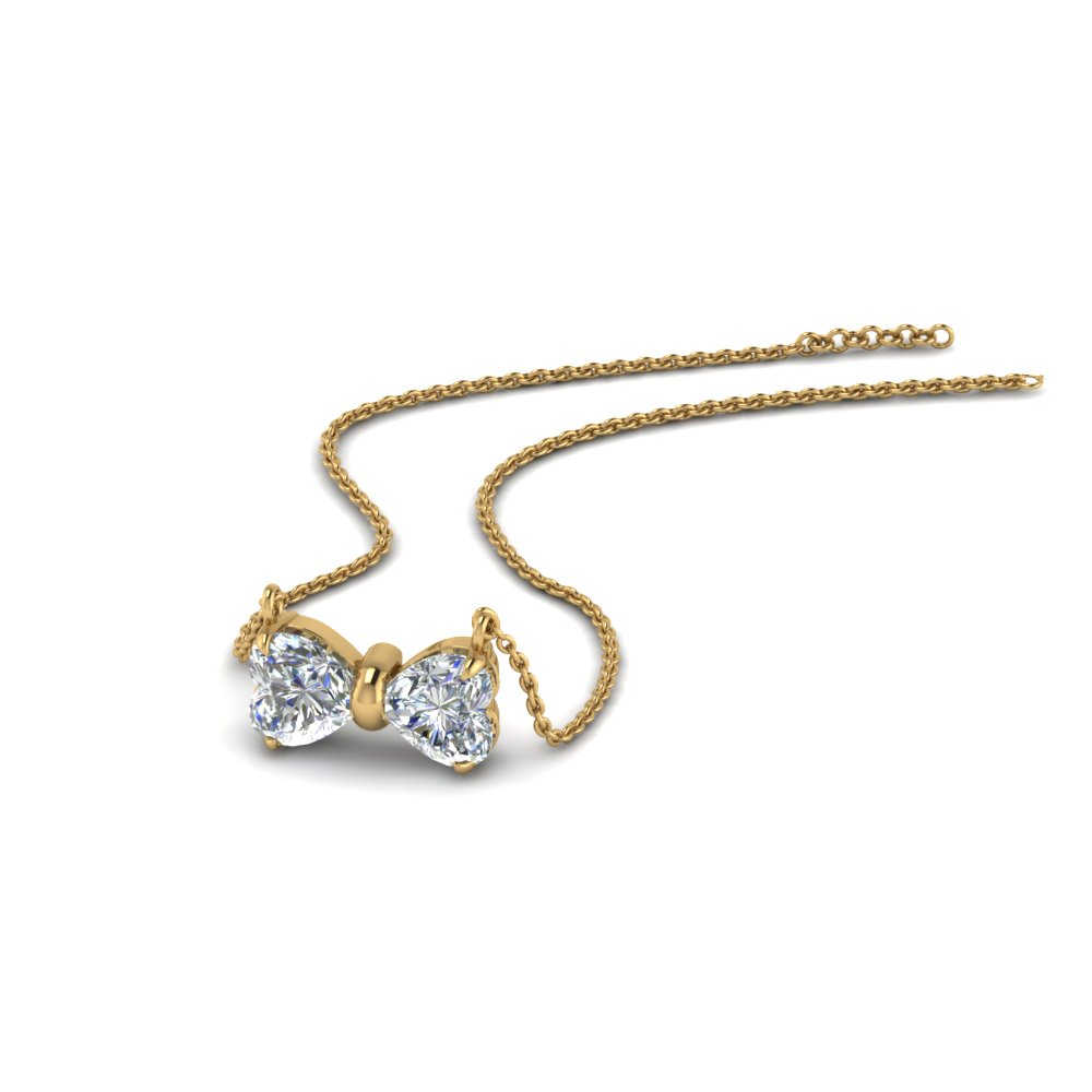 2 Heart Bow Diamond Necklace